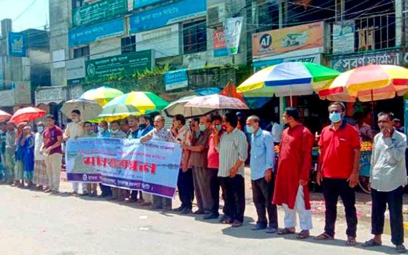 সুনামগঞ্জে ফসল রক্ষা বাঁধ নিয়ে কমিটির মানববন্ধন