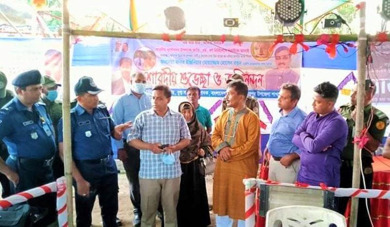 তাহিরপুরে পূঁজা মন্ডপ পরিদর্শনে উপজেলা প্রশাসন